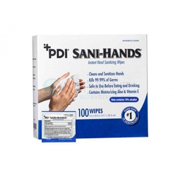 "Sani-Hands Instant Hand Sanitizing Wipes 5"" x 8"", 100/bx, 10 bx/cs"